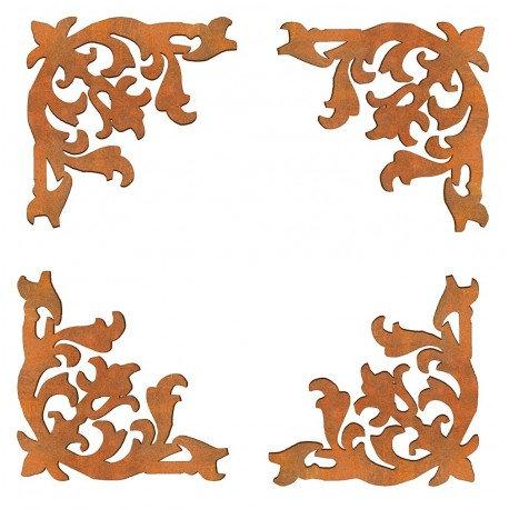 Conjunto 4 esquinas barroco Siluetas DM 6x6