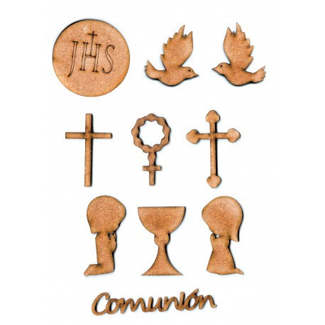 Set 10 piezas comunión Siluetas DM 7,5 cm. / 5 cm. / 3 cm.
