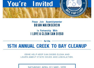 15th Annual Creek to Bay Clean-Up in Del Mar Mesa