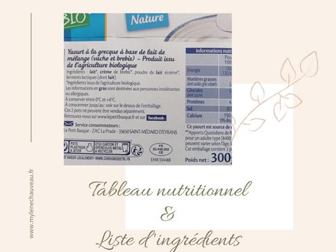 Liste d'ingrédients et tableau nutritionnel