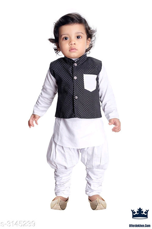 Ethnic Fancy Silk Cotton Blend Kurta Kid's Boys Pyjama Set Vol 2