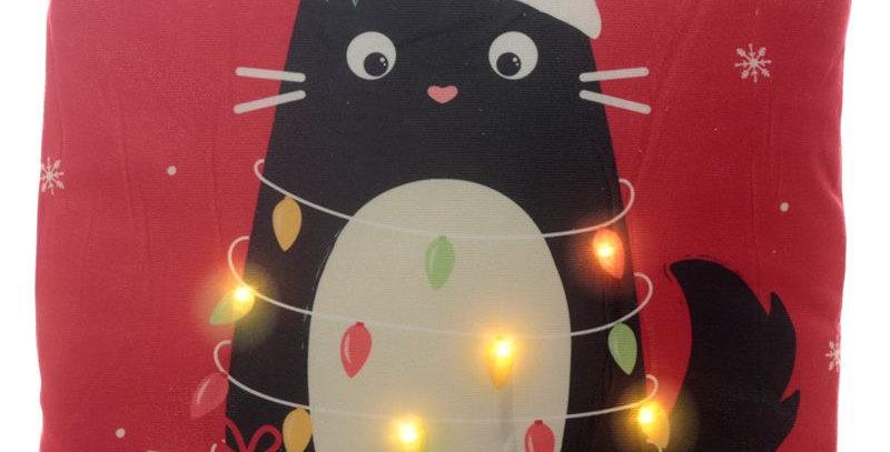 Cuscino Natalizio con LED - Gatto Nero - Feline Fine