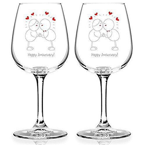 Happy Anniversary! Wine Glass Set (Set of 2) - 12.75 oz - Made in USA