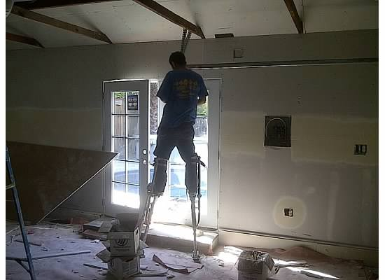 Install Drywall in garage conversion