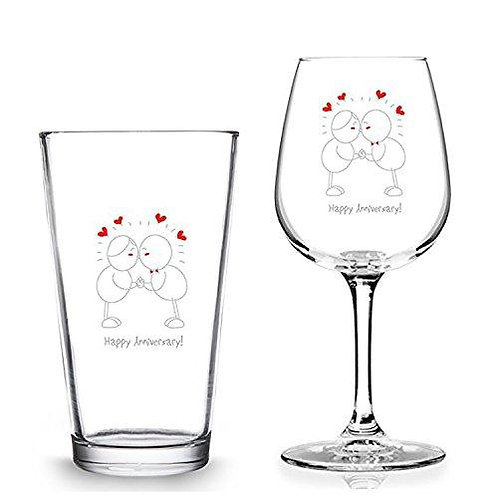 Happy Anniversary! Beer Wine Set - 12.75 oz. Wine Glass - 16 oz. Pint Glass