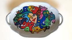Decorated ceramic dish