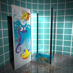 for kids shower box door