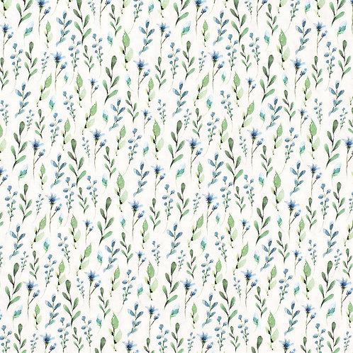 Baumwolljersey Leaves Blue