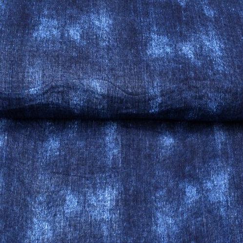Reststück Musselin Jeansoptik Jeansblau