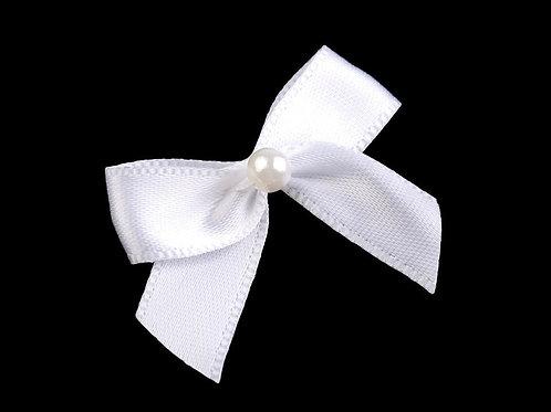 Satinschleife mit Perle 30x35 mm weiß