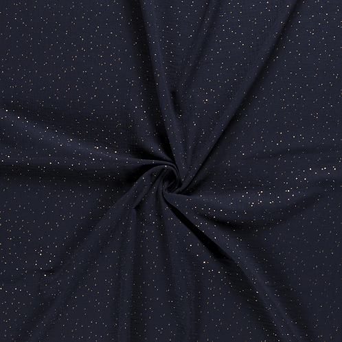 Musselin Marineblau mit Goldpunkten