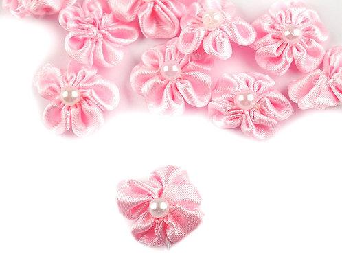 Satinblume mit Perle Ø25 mm rosa