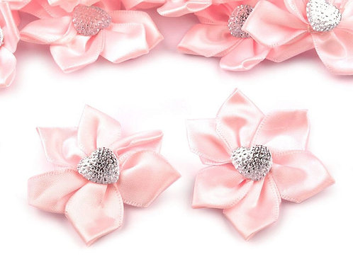 Satinblume mit Herz Ø50 mm mit Steinen rosa