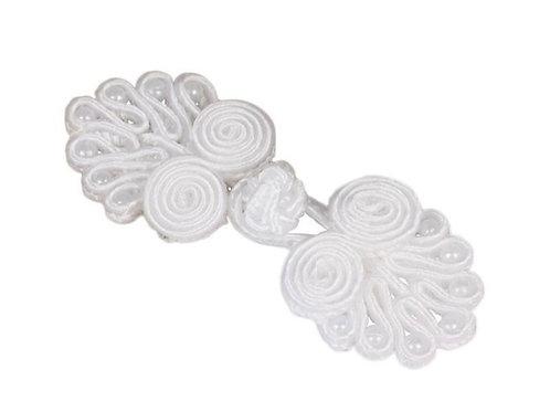 Satin Verschluss mit Perlen in Weiß