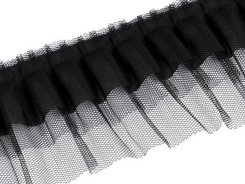 Rüsche Breite 70 mm schwarz