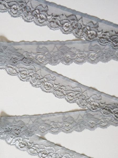 Spitzenband grau elastisch 3,5cm