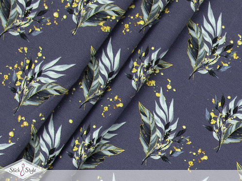 Baumwolljersey Elegance Leaves Blau