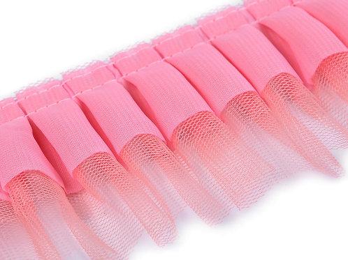 Rüsche Breite 70 mm rosa