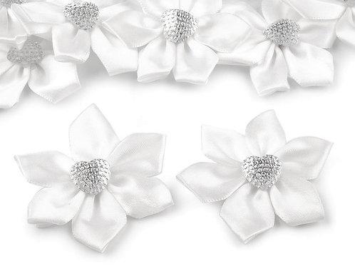 Satinblume mit Herz Ø50 mm mit Steinen Weiß