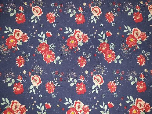 Baumwolljersey Used Look Flowers - Blau