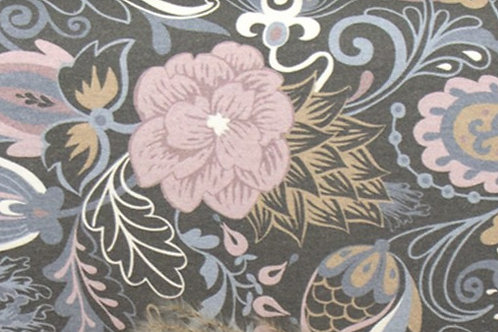 Baumwolljersey Blumenparadies auf grau