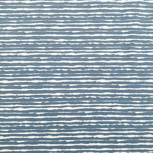 Baumwolljersey gemalte Streifen Jeansblau