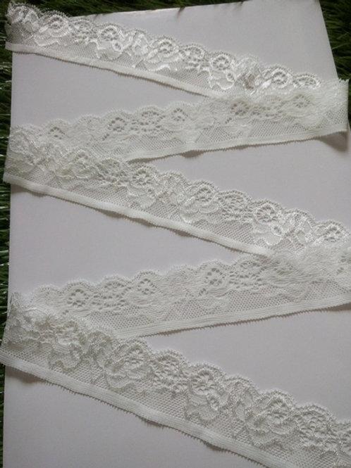 Spitzenband Weiß elastisch 3,5cm