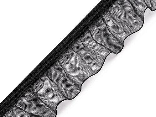 Rüschengummi Breite 25 mm schwarz