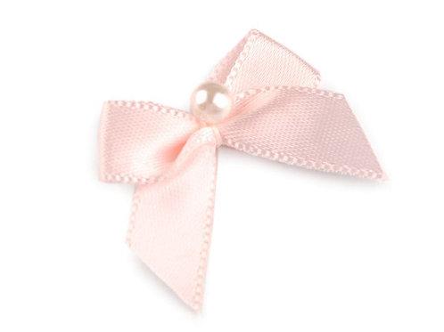 Satinschleife mit Perle 30x35 mm rosa