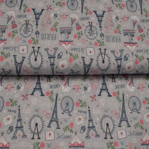 Webware Paris Motiv auf Grau