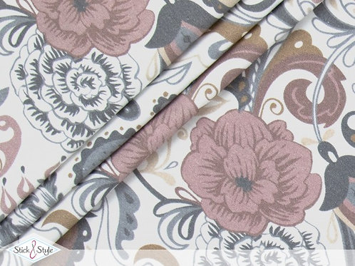 Baumwolljersey Blumenparadies auf weiß