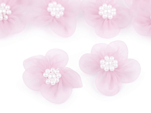Organza Blume Ø30 mm mit Perlen rosa