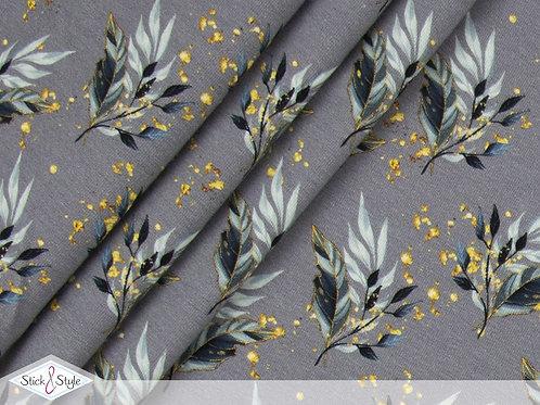 Baumwolljersey Elegance Leaves Grau
