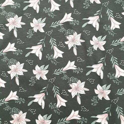 Baumwolljersey Blumen auf Grau