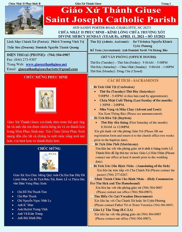 2021 April 11th Chua Nhat II Phuc Sinh Y