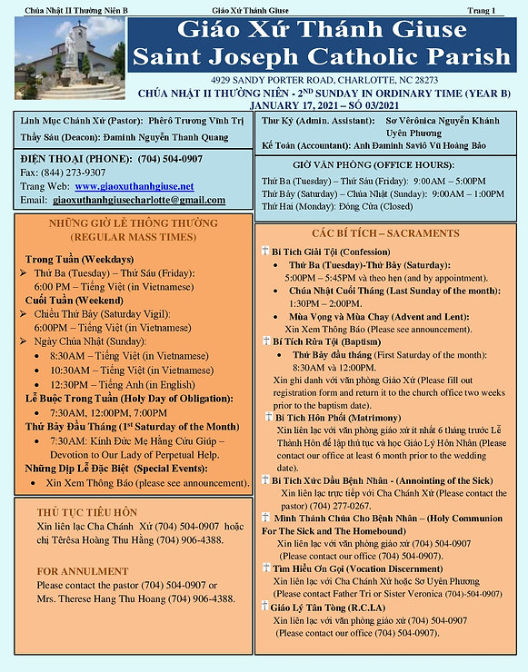 2021 January 17th Chua Nhat II Thuong Ni