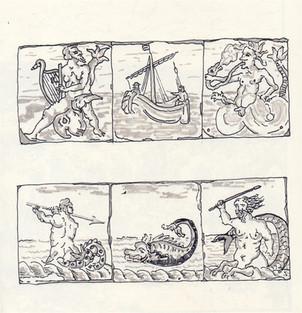 Study of Dutch Sea Monster Tiles