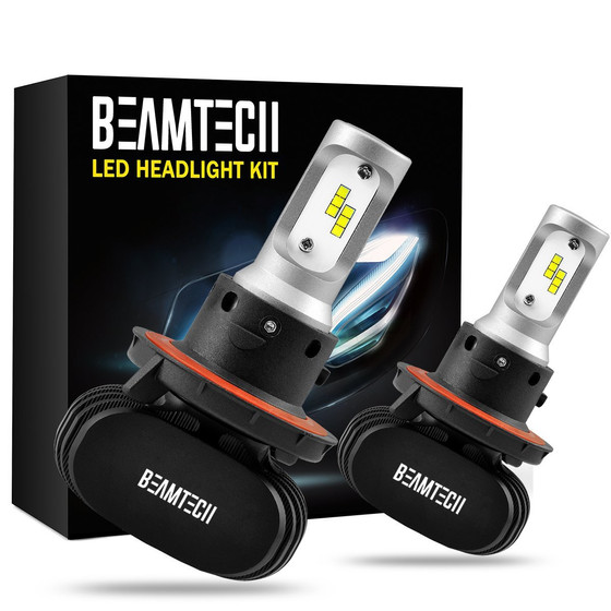 BEAMTECH H4 LED Headlight Bulb, 50W 6500K 8000Lumens Extremely Brigh (9003 Hi/Lo) CSP Chips Conversi
