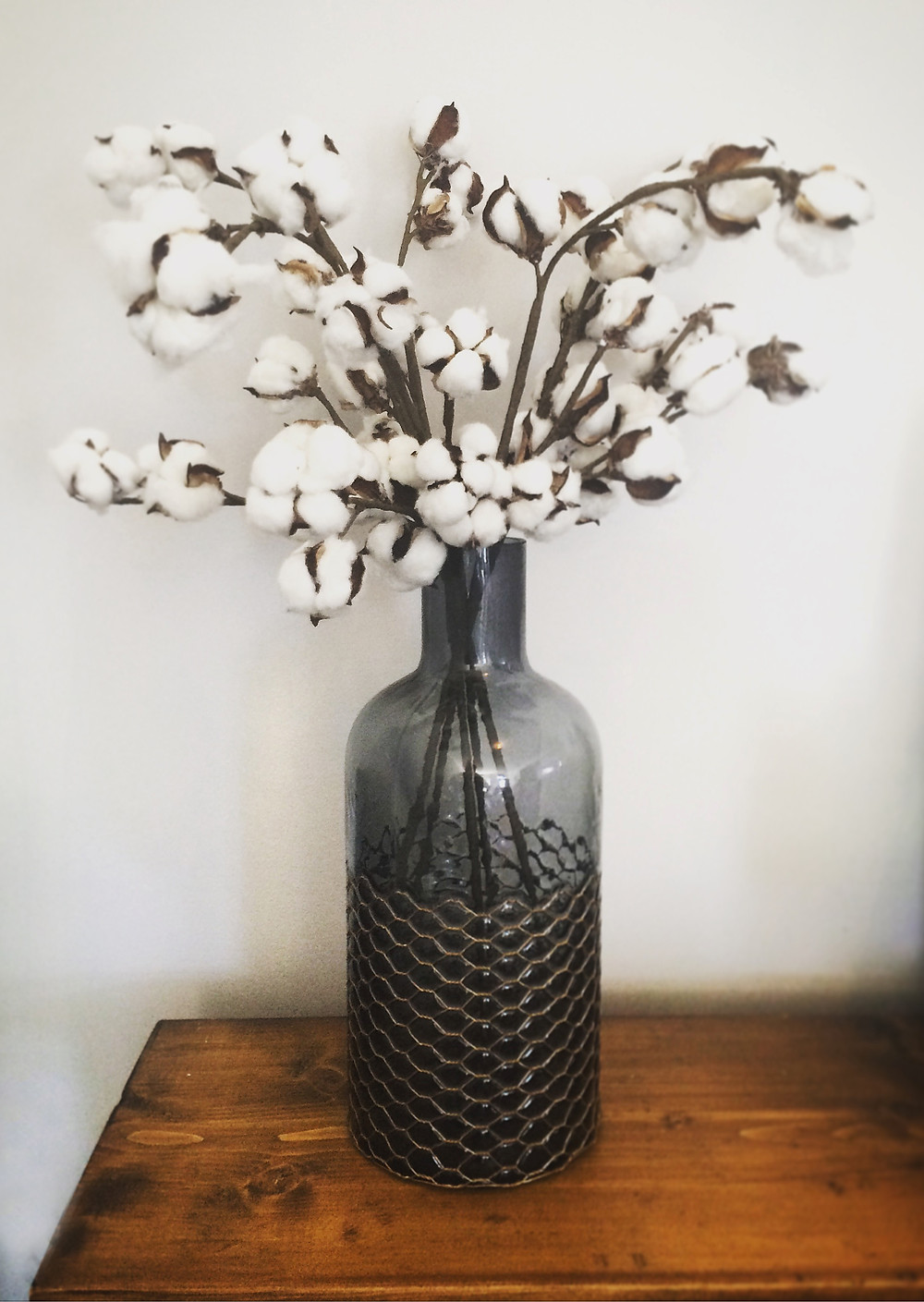Cotton Ball Stems & Copper Chicken Wire Vase