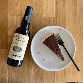 Chocolade karamelpinda taart