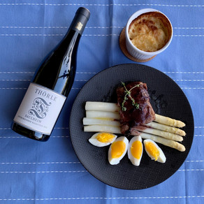 Kalfssukade in rode wijnsaus met asperges en gratin - Sous vide