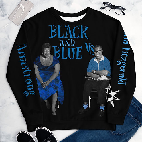 Black and Blue Vs. (Louie Armstrong vs. Ella Fitzgerald) Unisex Sweater