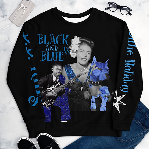 Black and Blue Vs. (Billie Holiday vs. B.B. King) Unisex Sweater