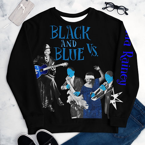 Black and Blue Vs. (Robert Johnson vs. Ma Rainey) Unisex Sweater