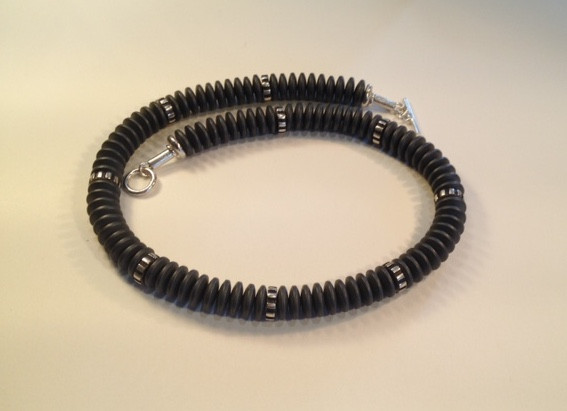 Charcoal millipede necklace.  £250