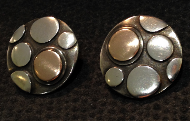 Large, Sterling silver and gold lichen clip earrings.  £130