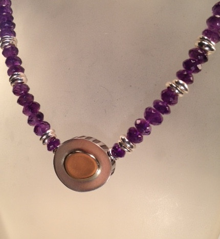 Amethyst, Sterling silver and gold necklace.  SOLD