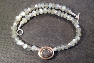 Moonstone, Sterling silver and rose gold necklace.  £450