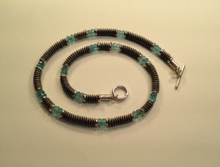 Haematite, Apatite and Sterling silver necklace.  £220