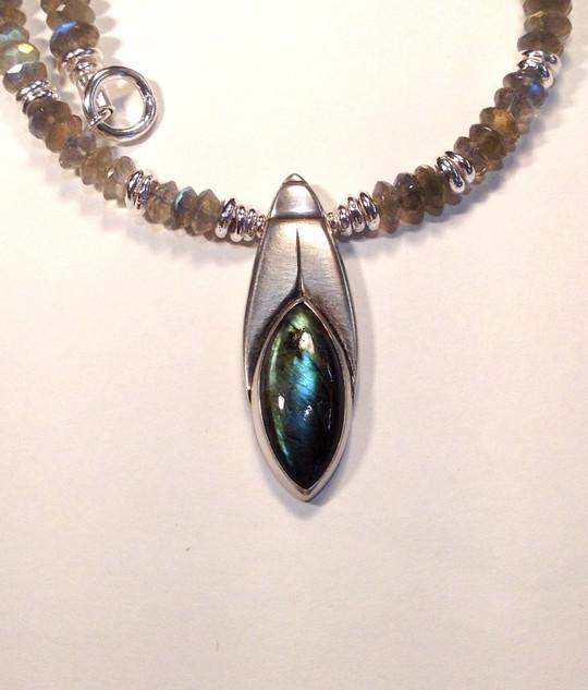 Labradorite, seed drop, necklace.  £450.